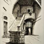 La corte del vescovo Rieti incisione